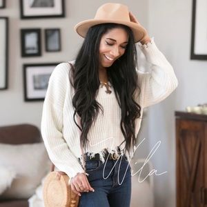 Distressed sweater white cream ripped shredded